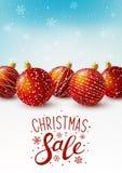 Cartolina di Natale con le sfere rosse illustrazione di stock