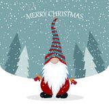 Cartolina di Natale con lo gnomo sveglio illustrazione di stock