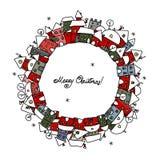 Cartolina di Natale con lo schizzo della città di inverno per il vostro Fotografia Stock