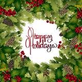 Cartolina di Natale con progettazione conifera Immagini Stock