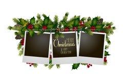 Cartolina di Natale con progettazione conifera Fotografie Stock Libere da Diritti