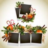 Cartolina di Natale con progettazione conifera Fotografia Stock