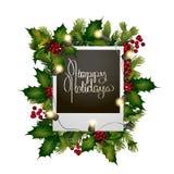 Cartolina di Natale con progettazione conifera Fotografia Stock Libera da Diritti