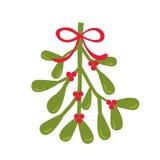 Cartolina di Natale con progettazione del vischio Fotografia Stock Libera da Diritti