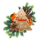 Cartolina di Natale con progettazione dolce Fotografia Stock