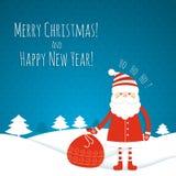 Cartolina di Natale con Santa Immagine Stock