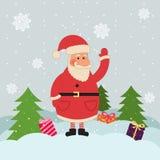 Cartolina di Natale con Santa Fotografia Stock Libera da Diritti