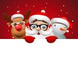 Cartolina di Natale con Santa Claus, i cervi ed il pupazzo di neve illustrazione vettoriale