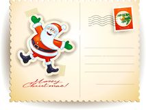 Cartolina di Natale con Santa divertente Fotografia Stock Libera da Diritti