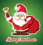 Cartolina di Natale con Santa e la campana Immagini Stock Libere da Diritti