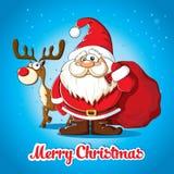 Cartolina di Natale con Santa ed i cervi Fotografia Stock Libera da Diritti