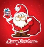 Cartolina di Natale con Santa ed il regalo Fotografie Stock