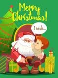 Cartolina di Natale con Santa nel ragazzino della tenuta della poltrona Immagine Stock Libera da Diritti