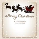 Cartolina di Natale Cartolina con Santa sulla slitta Fotografia Stock Libera da Diritti