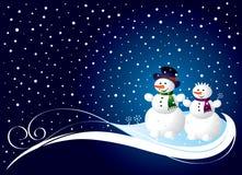 Cartolina di Natale con smowman Fotografie Stock Libere da Diritti