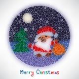 Cartolina di Natale con stile di Santa Claus vaga in tondo Fotografia Stock Libera da Diritti