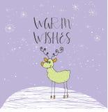 Cartolina di Natale con testo e la renna su un fondo di inverno con neve ed i fiocchi di neve Fotografie Stock