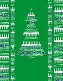 Cartolina di Natale con un albero Fotografia Stock