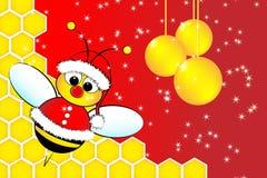 Cartolina di Natale con un ape il Babbo Natale e l'alveare illustrazione vettoriale
