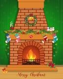 Cartolina di Natale con un camino decorato Immagini Stock