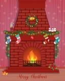 Cartolina di Natale con un camino decorato Fotografie Stock Libere da Diritti