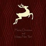 Cartolina di Natale con un cervo Immagine Stock Libera da Diritti