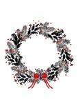 Cartolina di Natale con un disegno della mano della corona nera del vischio, dell'abete rosso, della cannella e delle spezie su f Fotografia Stock Libera da Diritti
