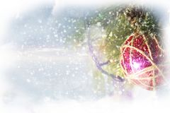 Cartolina di Natale con un giocattolo fotografia stock libera da diritti