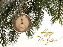 Cartolina di Natale con un orologio Immagine Stock
