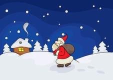 Cartolina di Natale con un paesaggio di inverno Fotografia Stock