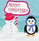 Cartolina di Natale con un pinguino e un pupazzo di neve Fotografia Stock Libera da Diritti