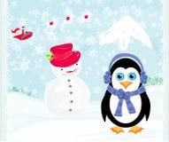 Cartolina di Natale con un pinguino, il Babbo Natale e un pupazzo di neve Immagini Stock