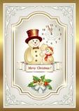 Cartolina di Natale con un pupazzo di neve Fotografia Stock