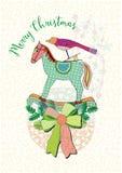 Cartolina di Natale con un uccello e un cavallo, cartolina di saluto di vettore Immagini Stock