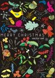 Cartolina di Natale con un uccello, un vischio e le bacche, insieme di vettore Immagine Stock