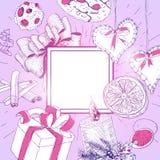 Cartolina di Natale d'annata come tema romanzesco illustrazione vettoriale