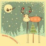 Cartolina di Natale d'annata con il toro divertente nella festa  Immagini Stock Libere da Diritti