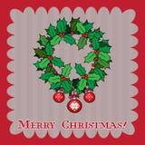 Cartolina di Natale d'annata con la bacca dell'agrifoglio Fotografie Stock Libere da Diritti