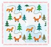 Cartolina di Natale d'annata con le volpi Fotografia Stock