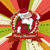 Cartolina di Natale d'annata di vettore con Santa Claus Fotografia Stock