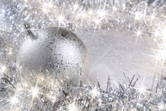 Cartolina di Natale d'argento Fotografia Stock Libera da Diritti