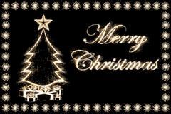 Cartolina di Natale da stile dello sparkler Fotografia Stock Libera da Diritti