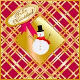 Cartolina di Natale decorata con il burattino della neve dorato e rosso Buon Natale spagnolo Fotografie Stock