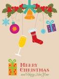 Cartolina di Natale decorativa con il regalo illustrazione vettoriale