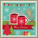 Cartolina di Natale del cioccolato caldo Fotografia Stock