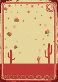 Cartolina di Natale del cowboy con il blocco per grafici della corda per testo Fotografia Stock Libera da Diritti