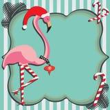 Cartolina di Natale del fenicottero Fotografia Stock