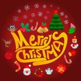 Cartolina di Natale del fumetto con i regali ed i giocattoli Fotografie Stock Libere da Diritti