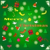 Cartolina di Natale del fumetto con i regali ed i giocattoli Immagine Stock