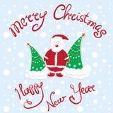 Cartolina di Natale del nuovo anno con gli alberi di Natale e di Santa Claus Fotografia Stock
